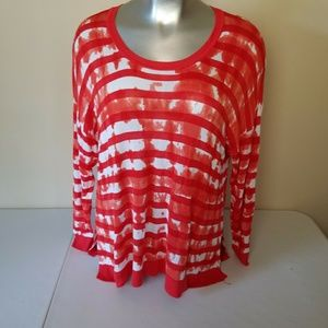 Lane Bryant Red White Thin Knit Top 3/4 Sleeve